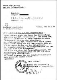 """Einberufung zum Pflichtjahr  für das Heim """"Harz"""" Wernigerode"""