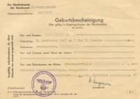 Geburtsbescheinigung 1943