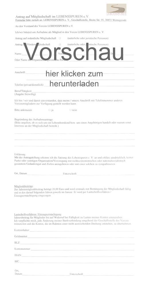 Lebensspuren e.V. » Formular/Antrag für eine Mitgliedschaft im Verein